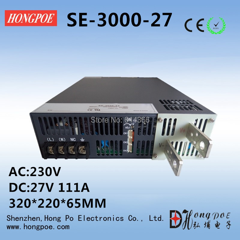 Free Shipping AC110 or 230V 3000W DC 0-27v power supply 27V 111A AC-DC High-Power PSU 0-5V analog signal control free shipping ac110 or 230v 2500w dc 0 30v power supply 30v 83a ac dc high power psu 0 5v analog signal control