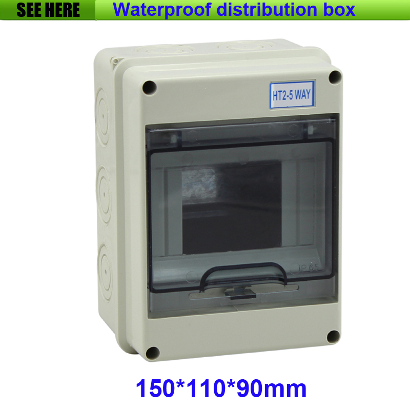Free Shipping 2-5 Way Plastic Distribution Box For Circuit Breaker Indoor On The Wall 150*110*90mm white plastic cuboid 2 4 way power distribution box guard cover