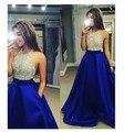 Royal Vestido Azul Largo de Baile Vestidos De Graduación Una Línea Abierta espalda Cuello Halter Mujeres de la Alta Calidad de Noche Vestidos Del Partido 2016 Nuevo