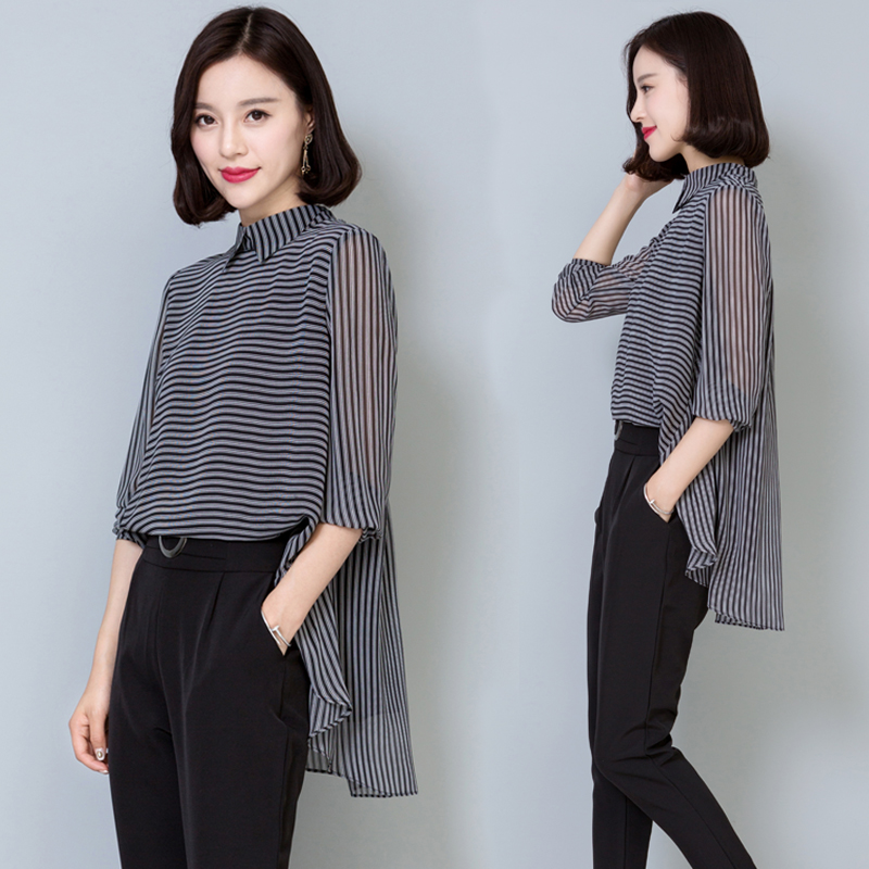 Irregular Chiffon Blouse Shirts 2018 Summer Casual Striped Blusa Women Clothing Tops Elegant Plus Size Ladies Korea Blouses G47
