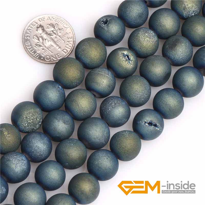 10mm Matte Frosted Dark Blue Natural Druzy Drusy Metallic Coated Agates Stone Semi Precious Beads for Jewelry Making Wholesale