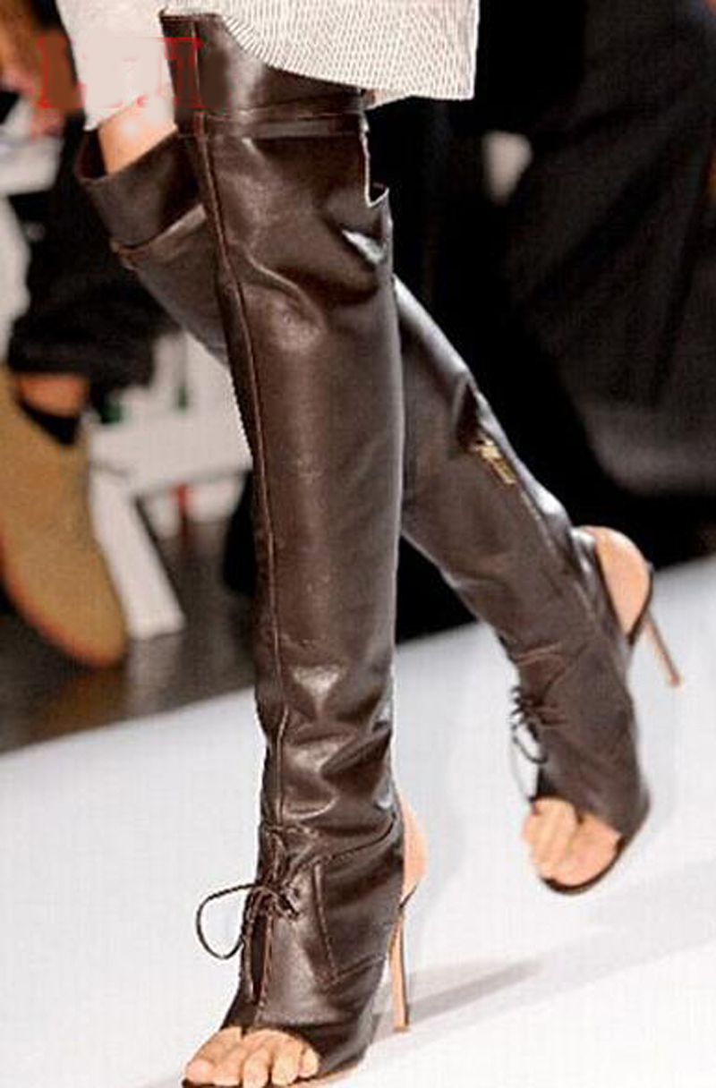 New Fashion Women Over-the-Knee PU Buckle Boots Cut-Out Gladiator Boots Ladies Boots High Heels Shoes Sexy Open Toe Party shoe simplicity buckle and pu leather design women s over the knee boots