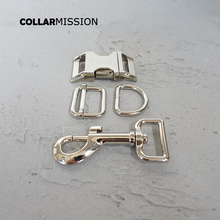 (metal buckle+adjust buckle+D ring+metal dog clasp/set) manufacturer high quality plated metal buckle diy 25mm collar parts