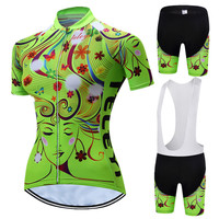 Teleyi 2019 Team Cycling Clothing Women Short Sleeve Cycling Set MTB Bike Clothing Breathable Bicycle Wear Cycling Jersey Sets