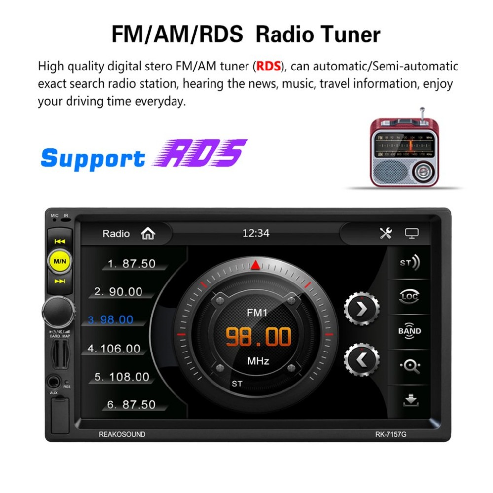 RK-7157G 7 дюймов 2DIN автомобиля радио MP5 плеер FM/AM/RDS радио тюнер Bluetooth Media Player gps навигации заднего вида Камера Функция