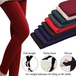 Image 5 - Kadın sonbahar kış kalın sıcak Legging çiğnemek ayak tayt kadın düz renk tayt fırçalanmış astar streç polar pantolon