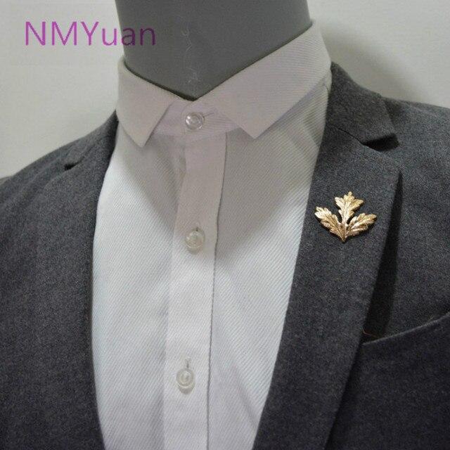 Европейский стиль Кленовый лист Брошь рубашка воротник угловой зажим, мужские костюмы рубашки оптом брошь