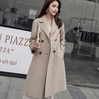 2019 new high end ladies double sided cashmere coat Korean version of the back pocket long windbreaker coat wool