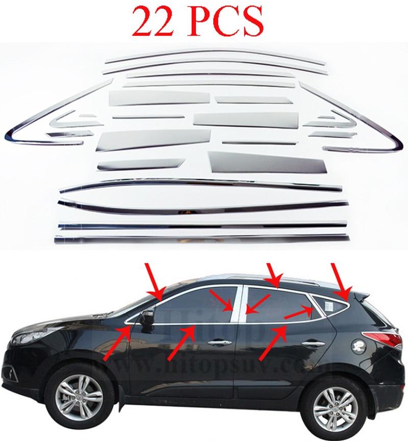 Fits Hyundai Tucson 2015- Chrome Window Frame Cover 14 Pcs S.Steel