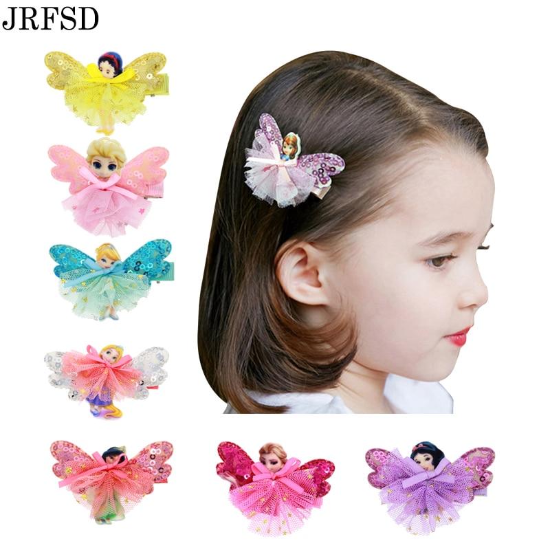 45b3e3fc9b1 JRFSD 1pcs Cute Flower Hair Clip Cartoon Images Hair Pins Princess Mini  Dress Hairgrip Kids Hair