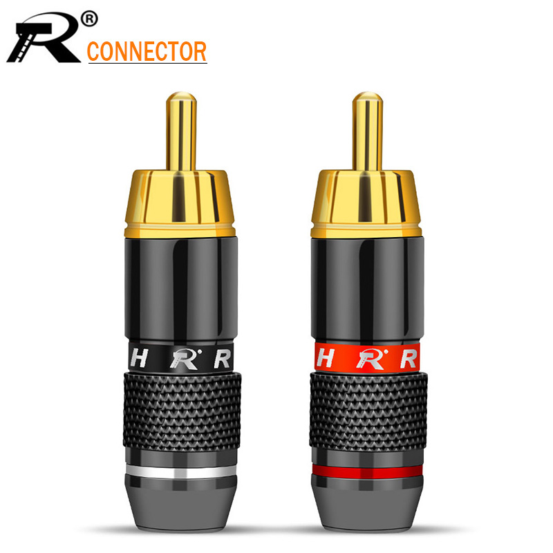 2pcs High Quality Black&red  Gold Plated RCA Connector RCA Male Plug Adapter Video/Audio Connector Support 6mm Cable