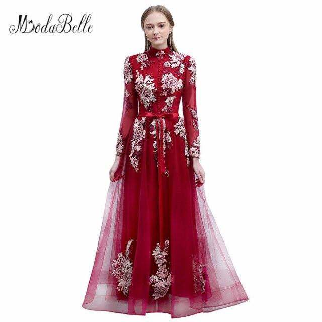 modabelle 2018 Burgundy Prom Dress Floral Tulle High Neck Muslim Evening Dresses Sleeves Arabic Lang Jurken Feest