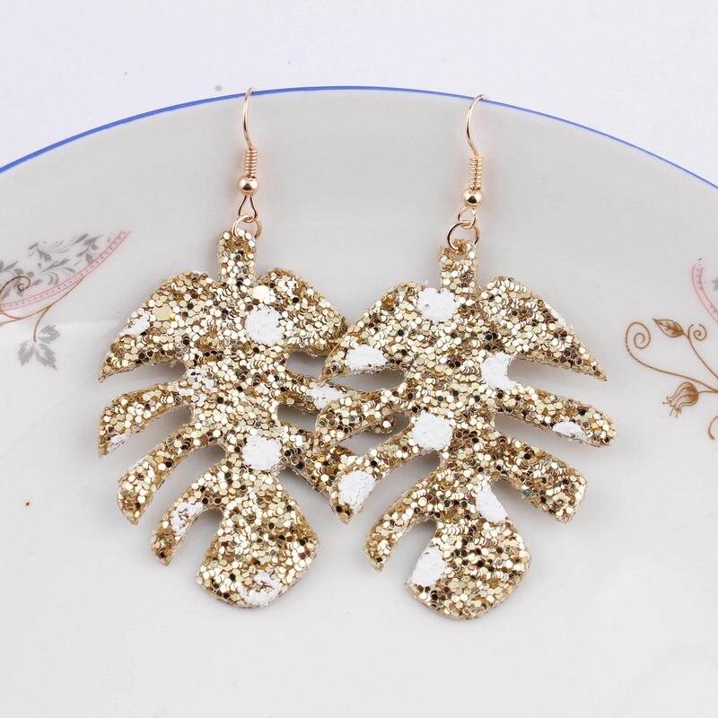 6414032a04 ZWPON 2018 New Glitter Leather Star Earrings for Women Fashion Large  Teardrop Statement Earrings Jewelry bijoux fantaisie femme
