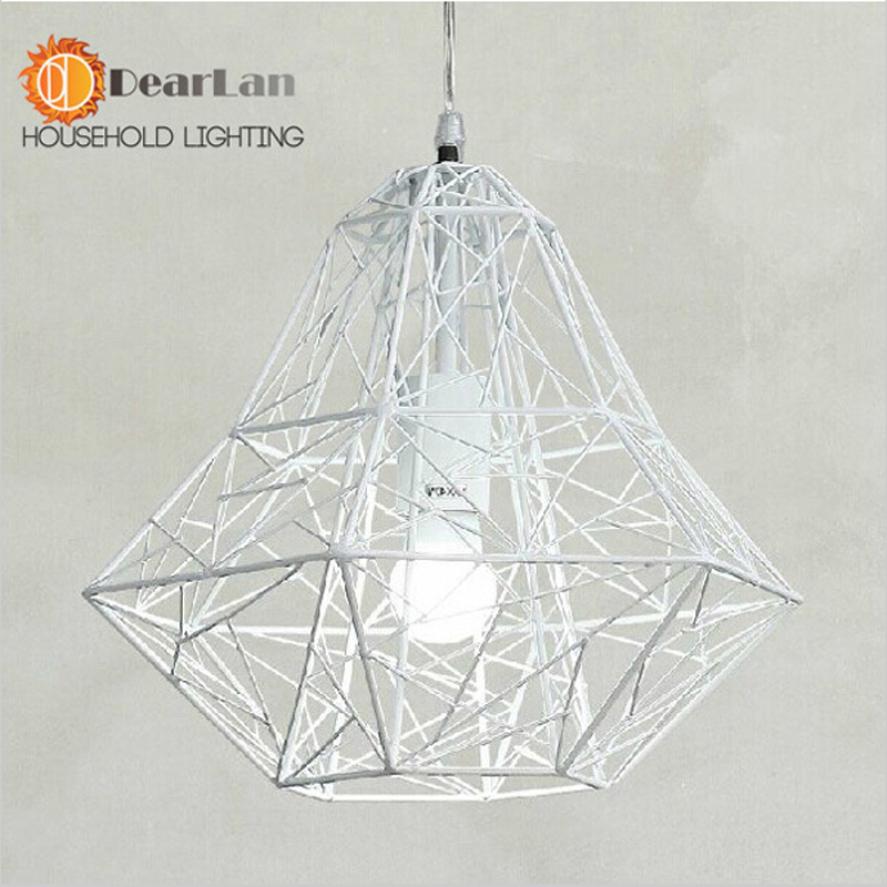 Black /White Iron Modern Pendant Light Wrought Iron Cage Droplight Vintage Pendant Lamps  Foyer Lamp Loft Light Free Shipping
