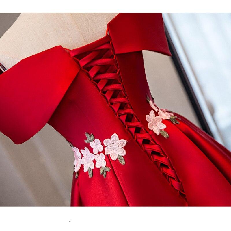 Op voorraad Echt foto rood boothals Korte mouw Plus size prom dresses - Jurken voor bijzondere gelegenheden - Foto 4