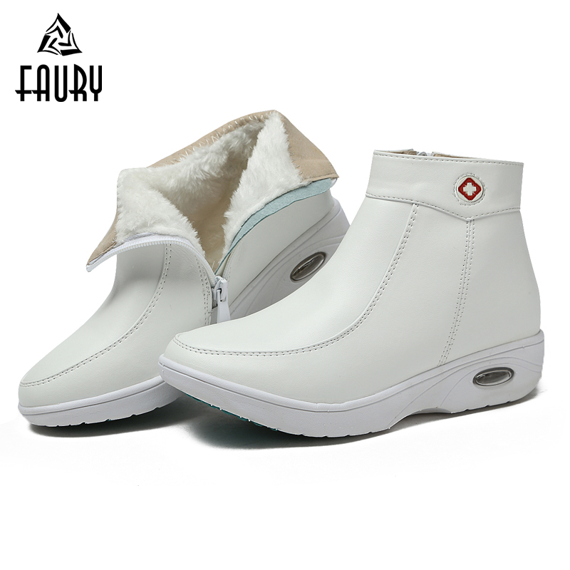Hospital White Nurse Doctor Work Shoes Winter Warm Thick Zipper Non-slip Soft Women Shoes Comfortable Medical Shoes