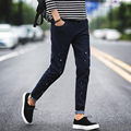 2016 Brand Spring Winter Black Blue Skinny Jeans Men Slim Fit Jeans Homme Young Painted Pencil Pants