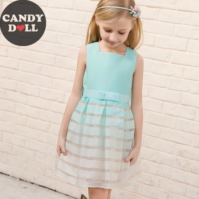1b914e2e89b CANDYDOLL 2018 Summer Girls Dress Blue Gradient Dresses Vest Princess  Sleeveless Little Girl Vestidos Outfit Clothing for 3-10y