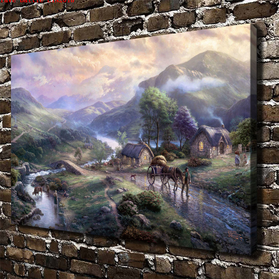 Thomas kinkade emerald valley canvas painting print living - Home interiors thomas kinkade prints ...