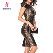Фотография Backless Sexy Dress Women Sequined Charming Slit Night Party Slim Solid Color Bodycon Dress Bubblekiss