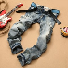High Quality 2016 Famous Brand Vintage Straight Cotton Cowboy Ripped Hole Moustache Effect Denim Overalls Men Biker Dance pants