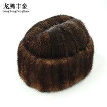 Winter Caps Men Bomber Hats Real Mink Fur Cap Outdoors Warm