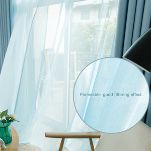 Image 3 - 現代チュールカーテンリビングルームキッチン白の寝室のカーテン薄手のカーテン窓子供ロマンチックなボイルブルー黒