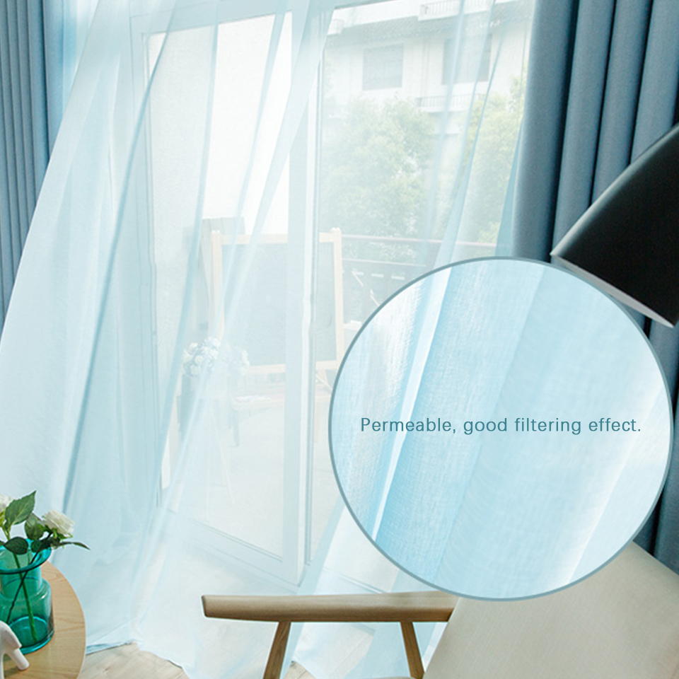 Image 3 - Modern Tulle Curtains For Living Room Kitchen White Curtains For The Bedroom Sheer Curtains Window Kid Romantic Voile Blue Black-in Curtains from Home & Garden