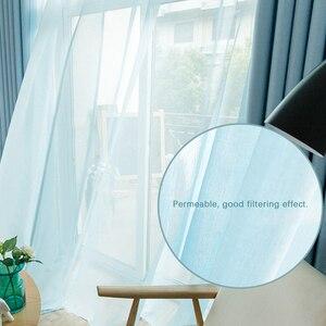 Image 3 - Moderne Tule Gordijnen Voor Woonkamer Keuken Witte Gordijnen Voor De Slaapkamer Sheer Gordijnen Venster Kid Romantische Voile Blauw Zwart