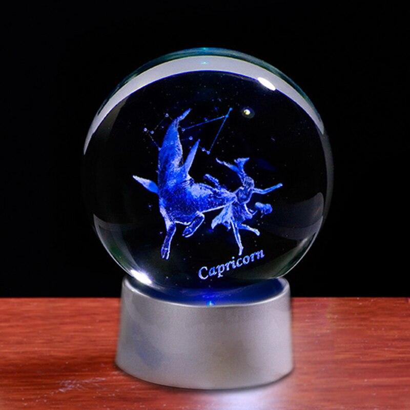 Miniature Capricorn Decorative Ornament Crystal Crafts Home Decoration Accessories Zodiac Constellations Glass Decorations(China)
