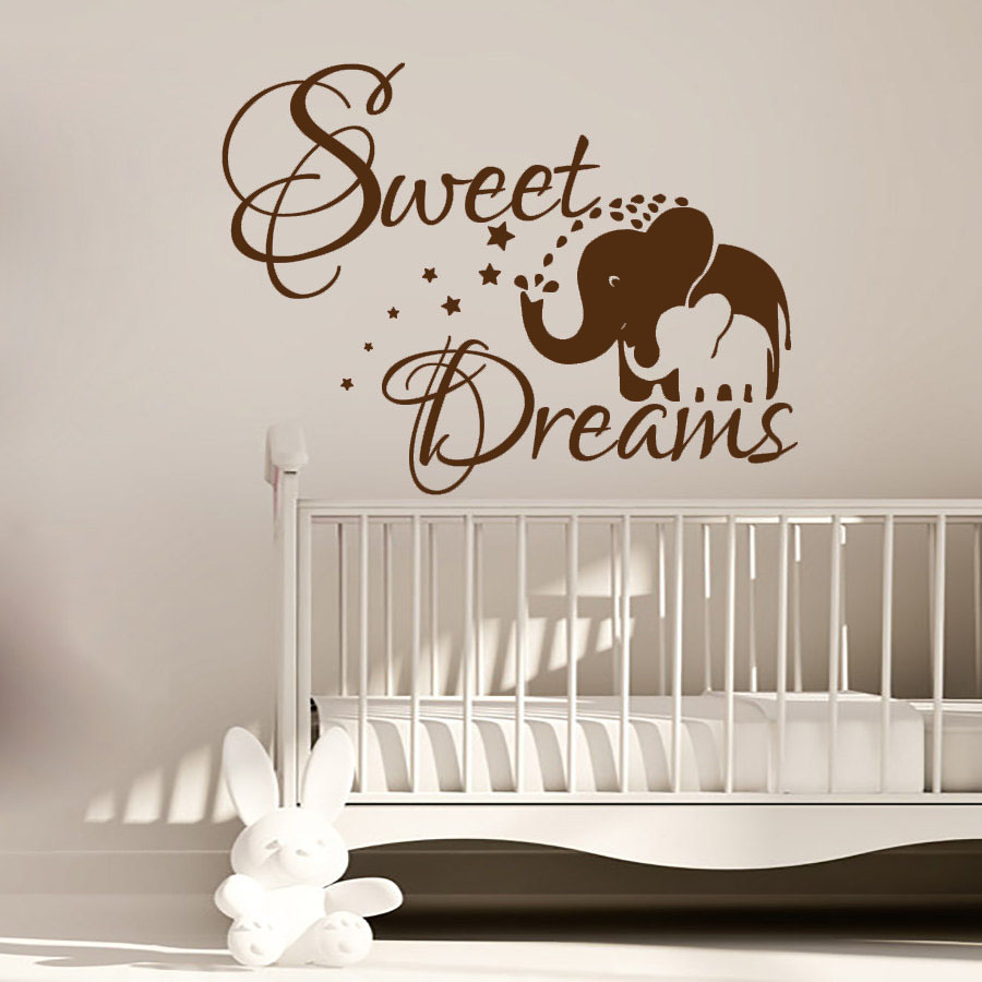 Sweet Dream Elephant Mom And Her Baby Wall Sticker PVC Vinyl Art Kids Bedroom Wall Decor Decals