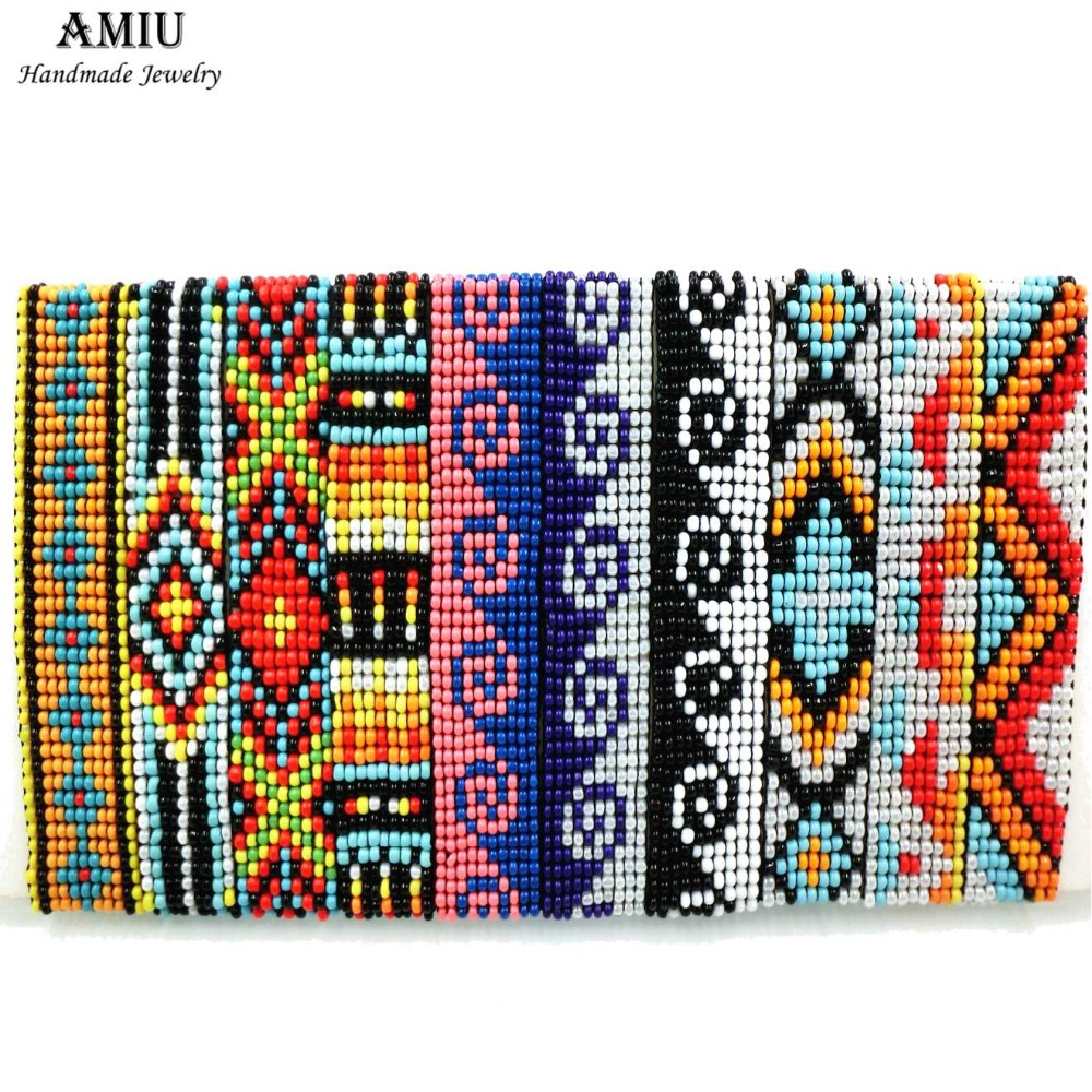 AMIU Handmade Friendship Bracelet Bohemia Style Hippy Bracelet Rope Popular String Seed Beads Bracelets For Women Men Christmas