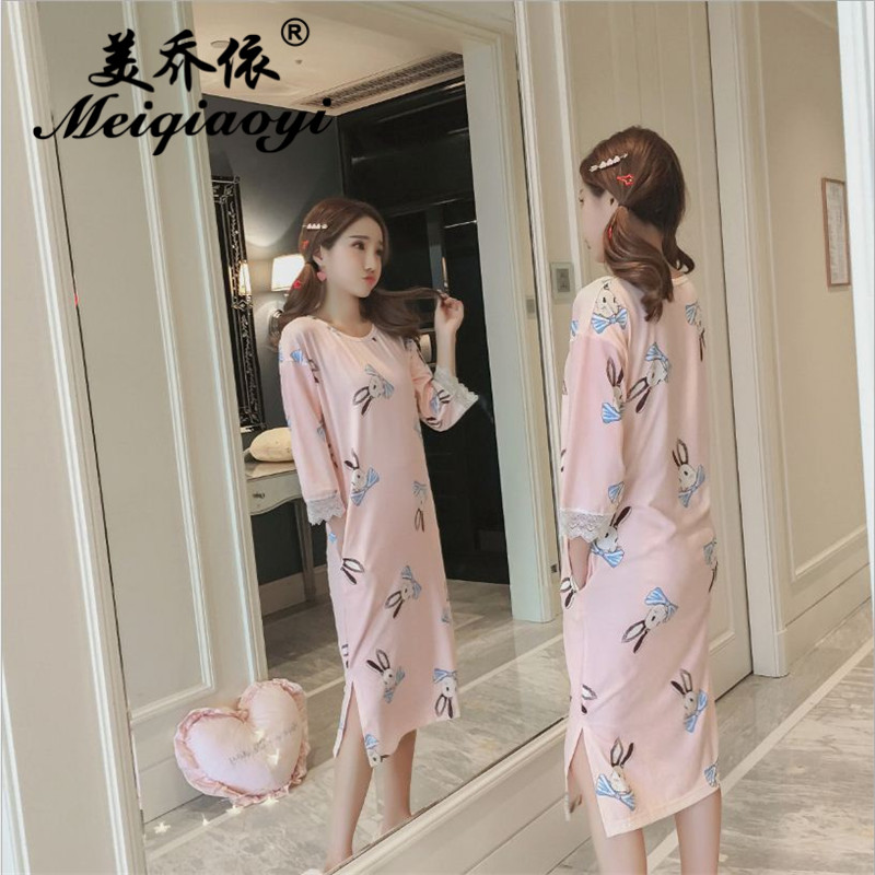 2018 spring Newest wearing loose Breathable Cartoon printing sleepwear Women fashion Three Quarter sleeve Milk Silk Nightwear