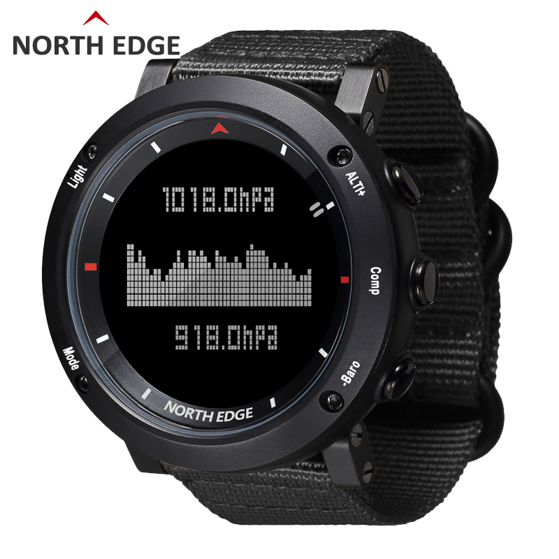 NORTH EDGE Men Sports Watch Altimeter Barometer Compass Thermometer Pedometer Nylon Strap Watches Digital Running Climbing Watch