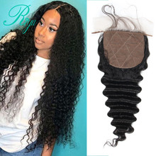 Riya Hair Brazilian Deep Wave Silk Base Closure Silk Top Closure With Baby Hair Hidden Knots Middle Part Human Hair Lace Closure