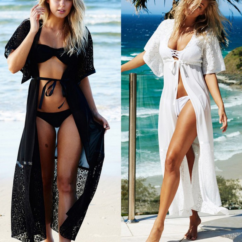 605688c165 Black / White Lace Bikini Cover Up Loose Floor Length Beach Dress Swimsuit  Cover ups Beach Tunic Wear RK31-in Cover-Ups from Sports & Entertainment on  ...