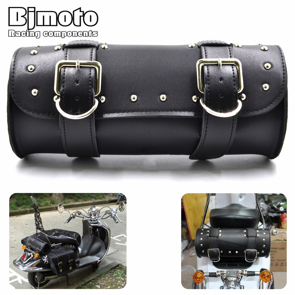 BJMOTO Black Brown Motorcycle Saddle Bags Leather Motorbike Side Tool Tail Bag PU Luggage Borsello Moto for Harley Universal