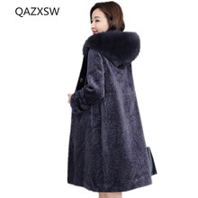 2018 New Women's Winter Real Fur Coat Sheep Shearing Long Section Large Fur Collar Hooded Outer Thick Warm Loose Jacket LB112