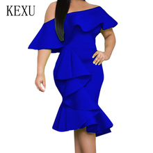 KEXU Summer Sexy Wrapped Chest Sleeveless Slim Irregular Ruffles Dress Women Black Off Shoulder Bodycon Bandage Pencil