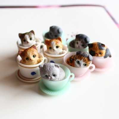8 Pcs/cute kitty/miniatures/lovely cup cats/ animals/fairy garden gnome/terrarium decoration/crafts/bonsai/toy/model