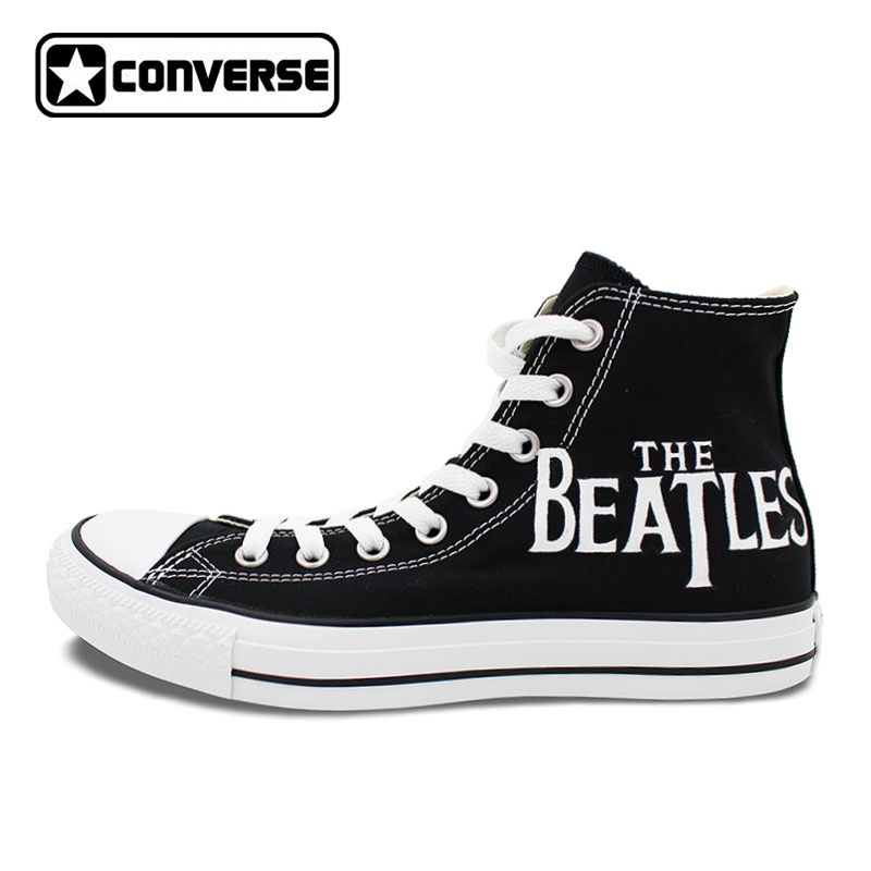 Black Converse All-Star Women Men Sneakers Boys Girls Hand Painted Shoes Custom Design Skateboarding Shoes Valentine's Day