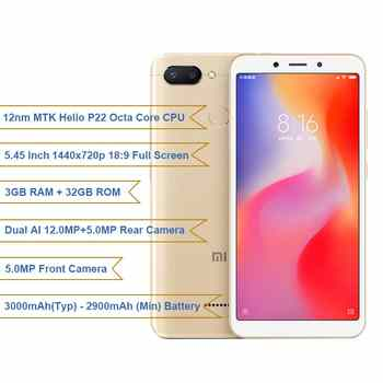 Global Version Xiaomi Redmi 6 3GB 32GB 5.45 inch 18:9 Full Screen MTK Helio P22 Octa Core 12MP+5MP Dual Camera 3000mAh Cellphone