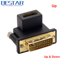 90 Degree Up & Down Angled DVI to HDMI Male to Female Swivel connector hdmi dvi hdmi adapter for Computer & HDTV & Graphics Card orico du3d bk usb 3 0 to dvi external graphics for computer screen extention black