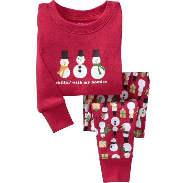 1set new cartoon kids pajama sets children sleepwear boys nightwear girls family christmas pajamas toddler baby - Christmas Pjs Toddler