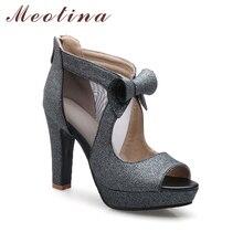 Meotina Women Shoes High Heels Platform Shoes Bow Peep Toe Pumps Sexy High Heel Party Shoes Silver Size 33-43 sapatos femininos