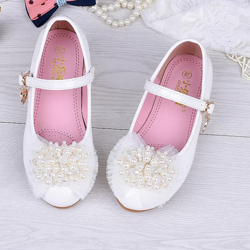 Kids Shoes For Girl Flats Shoes Wedding Beading Pearl Children Party Breathable Bow Knot Cow Muscle Leather White Pink faux pearl beading open shoulder knot chiffon dress