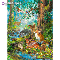 Daimond Painting Full Square/ Round Jungle Forest Deer Fox Animals In Wonderland Party Diamond Crystal Cross Stitch Mosaic 824DP