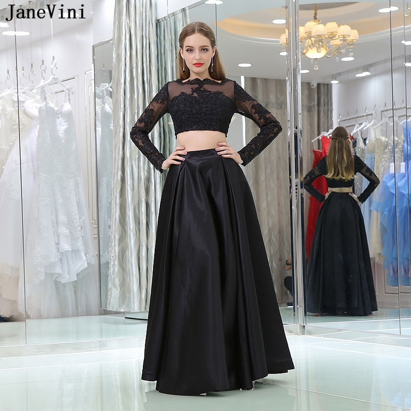 JaneVini Black A Line Two Piece   Bridesmaid     Dresses   Floor Length Elegant Long Sleeve Lace Appliques Satin Formal Party Wear Gowns