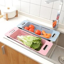 1pc Plastic Retractable Vegetable Fruit Washing Drain Basket Over Sink Rack Colanders Strainer Drying Kicthen Storage