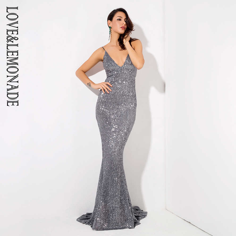 Love&Lemonade  Grey Deep V-Neck Open Back Elastic Sequin Material Party Long Dress LM1051